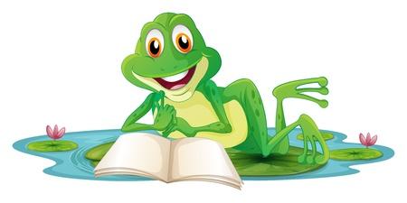 rana venenosa: Ilustraci?n de una rana que miente mientras lee un libro en un fondo blanco