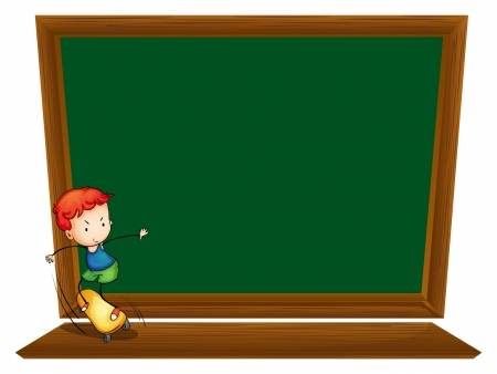 sides: Illustration of a blackboard with a boy skating on a white background