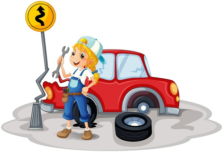 Illustration of a female mechanic near the car accident on a white background  Vector