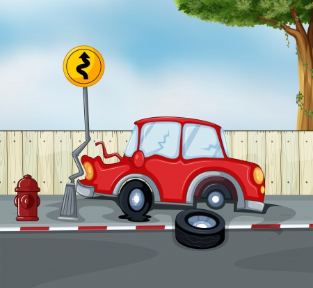 Illustration of a car accident at the roadside near the hydrant