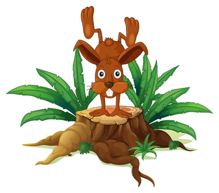 Illustration of a bunny on a stump with leaves on a white background  Vector