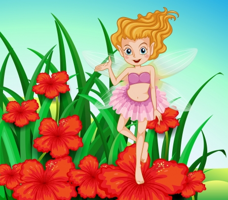 woman floating: Illustration of a fairy at the garden with red flowers Illustration