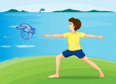 Illustration of a boy exercising at the riverbank