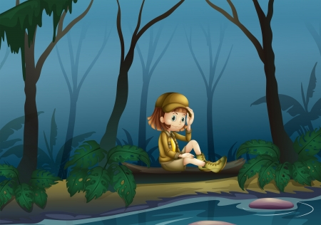 one little girl: Illustration of a girl sitting on a wood along the river