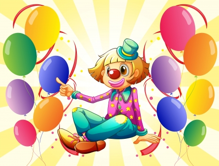 twelve: Illustration of a female clown sitting surrounded with colorful balloons on a white background Illustration