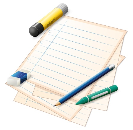 writing materials: Illustration of a paper with a pencil, a crayon, an eraser and a glue stick on a white background