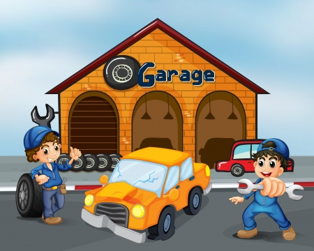 cars parking: Illustration of a damaged car in the middle of two boys in front of the garage