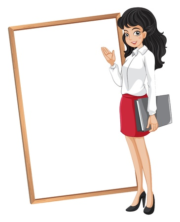 explaining: Illustration of a woman in front of the empty whiteboard on a white background