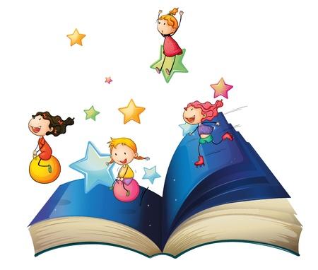 niños estudiando: Ilustración de un libro con los niños jugando en un fondo blanco