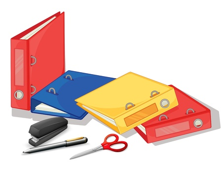 staplers: Illustration of the school and office supplies on a white background
