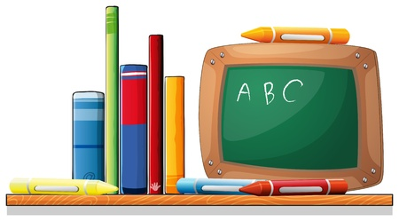 Illustration of a wooden shelf with books, crayons and a board on a white background Stock Vector - 20272712