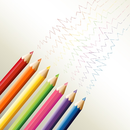 sharpen: Illustration of the colorful pencils with zigzag lines on a white background Illustration