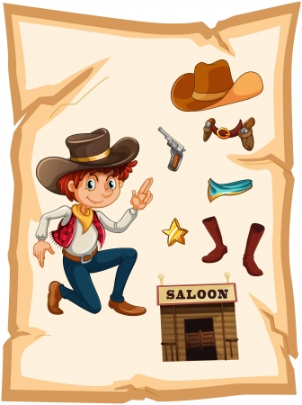 white pants: Illustration of a poster with a cowboy and a saloon bar on a white background