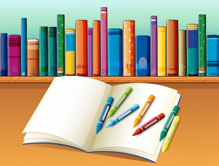 Illustration of an empty notebook with crayons in front of the shelf with books Stock Vector - 20272918