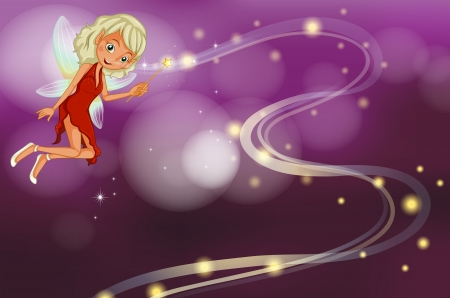 Illustration of a fairy holding a sparkling wand Vector