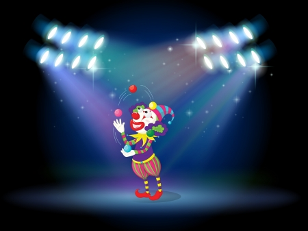 stageplay: Illustration of a clown juggling balls in the stage