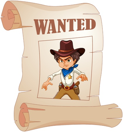 youth crime: Illustration of a poster of an angry cowboy on a white background