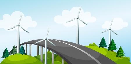 steel bridge: Illustration of a curve bridge with windmills and pine trees