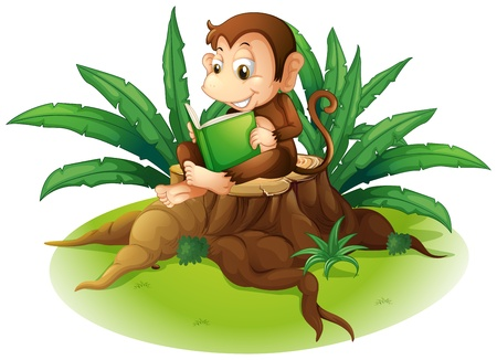 logging: Illustration of a monkey reading above a stump