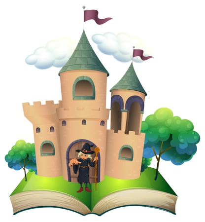 storyteller: Illustration of a book with a castle and a witch on a white background