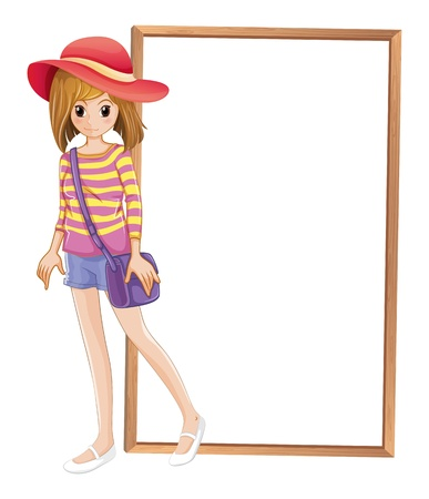 Illustration of a fashionable teenager in front of the empty frame on a white background Stock Vector - 20272748