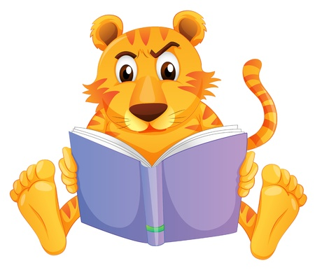 tiger page: Illustration of a tiger reading on a white background