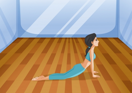 skyblue: Illustration of a girl doing yoga
