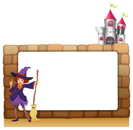 broomstick: Illustration of a witch with a broomstick in front of an empty template on a white background