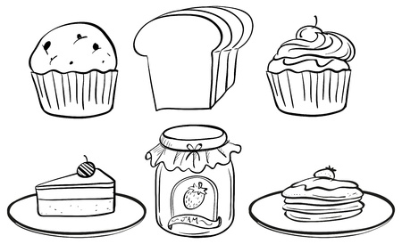 Illustration of the doodle sets of different foods for snacks on a white background  Vector