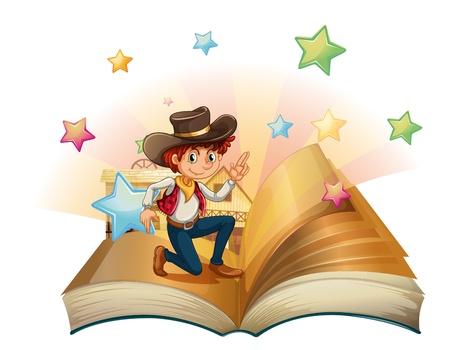 Illustration of a book with a young cowboy on a white background Stock Vector - 20273013