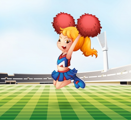 Illustration of a cheerleader cheering at the field  Vector