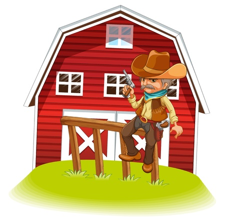 barnhouse: Illustration of a cowboy holding a gun sitting on a wood in front of the barnhouse on a white background  Illustration