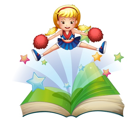 storyteller: Illustration of a book with an image of a cheerdancer dancing on a white background Illustration