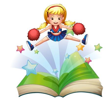 cheer leader: Ilustraci�n de un libro con una imagen de un baile cheerdancer sobre un fondo blanco