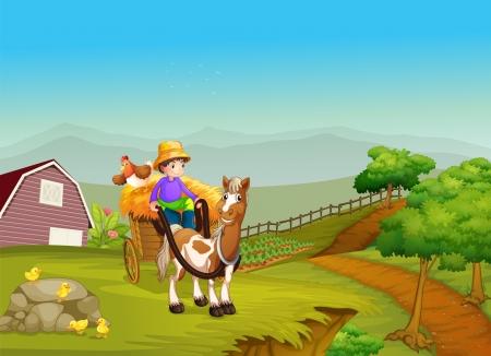cultivating: Ilustraci�n de un ni�o montado en un carro con un caballo y un pollo en la parte posterior