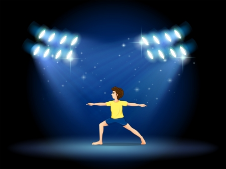 stageplay: Illustration of a boy exercising at the stage with spotlights Illustration