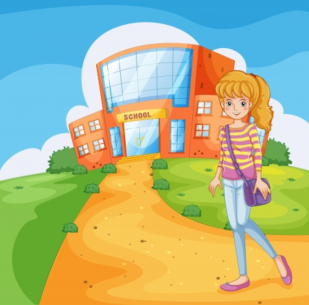 Illustration of a girl going to the school Illustration