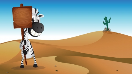 Illustration of a zebra holding the empty signboard at the desert Vector