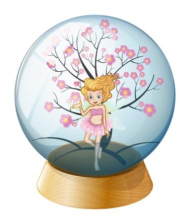 Illustratie van een kristallen bol met een fee en een kersenbloesem boom op een witte achtergrond