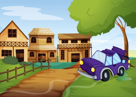 crashed: Illustration of a car accident at the pathway going to the farm