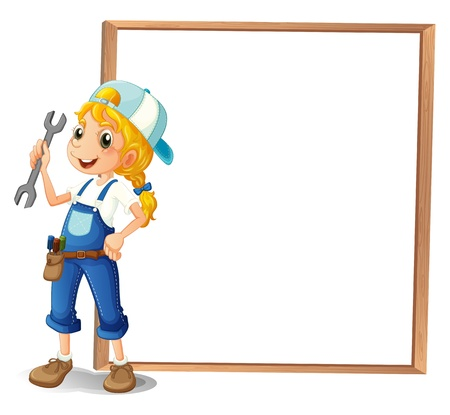 female driver: Illustration of a girl holding a tool beside a big frame on a white background