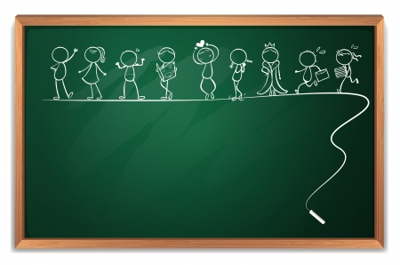 Illustration of a blackboard with a doodle art on a white background Illustration