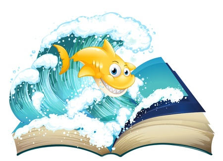 storyteller: Illustration of a book with an image of a shark and a wave on a white background