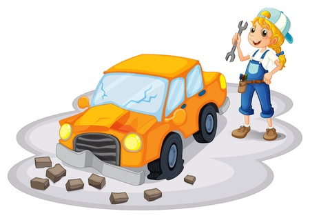 broken car: Illustration of a girl fixing a broken car on a white background