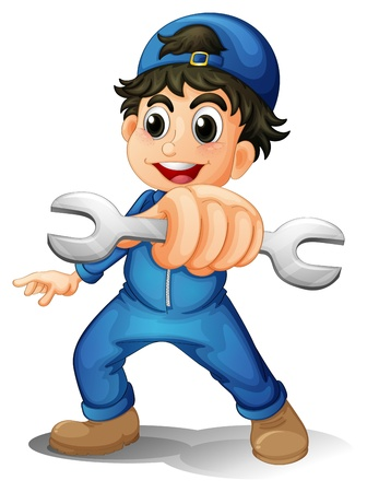 Illustration of a cute male mechanic on a white background Stock Vector - 20272855