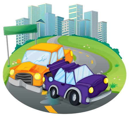 car crash: Illustration of a car crash at the street near the empty green signage on a white background