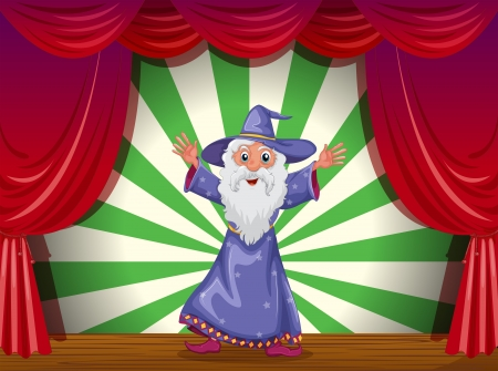 centerstage: Illustration of a wizard doing magic on the stage Illustration