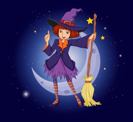 night stick: Illustration of a witch holding a broom with a moon and stars at the back Illustration
