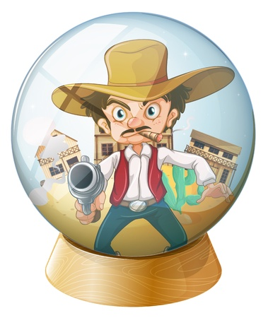 sphere standing: Illustration of a cowboy holding a gun inside the crystal ball on a white background