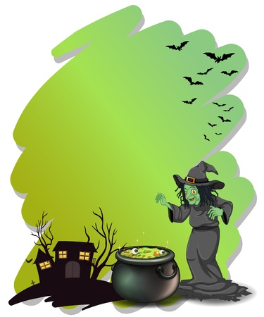 Illustration of a witch and her magical pot at the cemetery on a white background Vector